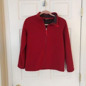North Face Fleece Jacket Boys Large Dark Red/Gray
